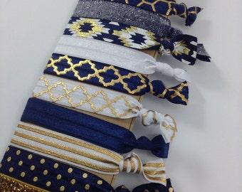 Navy & Gold Hair Ties Aztec Boho Chic Quaterfoil Metallic FOE Hair Ties glitter elastic Navy Blue and White Hair Ties Chevron Hair Ties