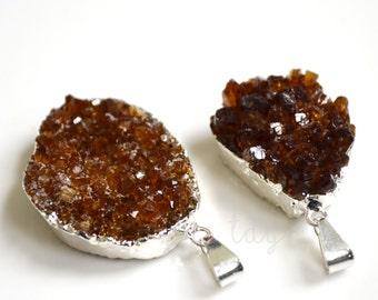 Citrine Druzy Crystal Pendant, Yellow Citrine Crystal, Silver Dipped Citrine, 30x18mm