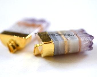 Large Amethyst Slice Stalactite Pendant, 24k Gold Electroplate, Natural Amethyst Pendant