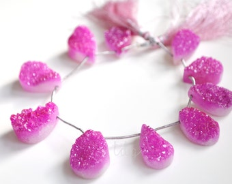Bright Pink Coated Quartz Druzy Top Drilled Pear Shape Briolettes 20x14 to 22x16mm -1/2 STRAND