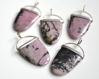 Pink and Black Natural Rhodonite Tongue Pendant with Sterling Silver Bail, 38x21mm