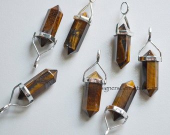 Natural Tiger Eye Point Bead Pendant with Sterling Silver Bail