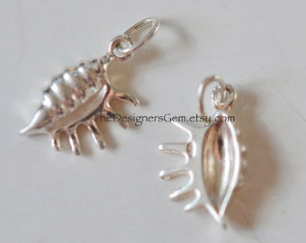 One Conch Sea Shell Charm in Sterling Silver