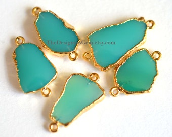 GREEN CHRYSOPRASE Slice Edged in Gold Connector