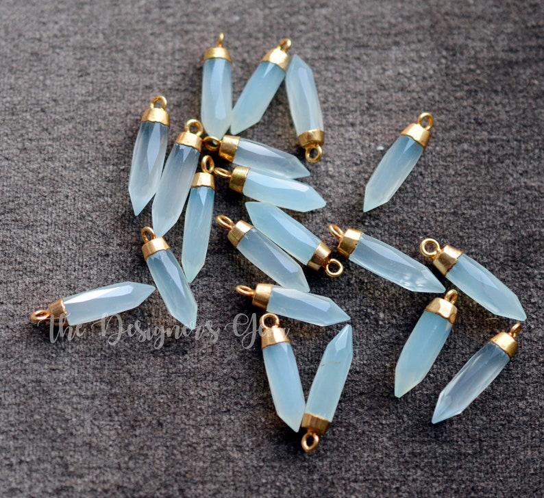 Point Pendant 24kt Gold Electroplate Crystal Pendant Chalcedony Bullet 23 x 6mm Aqua Chalcedony Pendant