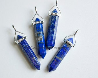 Blue Lapis Lazuli Point Bead Pendant with Sterling Silver Bail