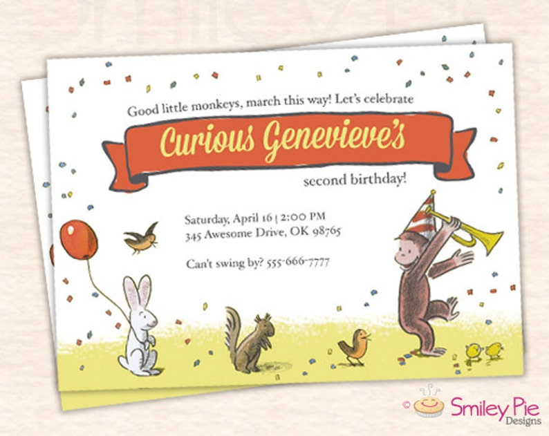 Curious George Birthday Party Invitation Vintage Boy