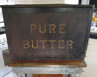 """Antique Welsh Grocer's Butter or Dairy Counter or Slab of Solid Slate stone """"Pure Butter"""" late 1800's"""