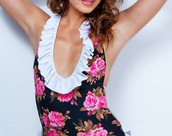 4ad4c4bf32 Black Monokini Floral Ruffled One-Piece Monokini Swimsuit