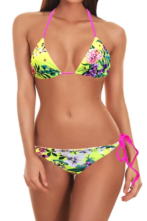 51cbc95ff86d2 Swimsuit - Neon Yellow Pink Floral Swarovski Bikini
