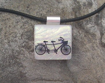 Tandem Bicycle Necklace Fused Dichroic Glass Bike  Pendant