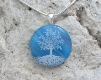 Tree of Life Necklace  Blue Fused Glass  Tree Pendant