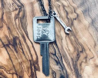 Vintage Jeep Key Necklace - Jeep Accessories - Jeep Charm - Wanderlust - Road Trip- 1985-1990