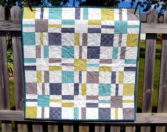 Baby Boy Quilt - Modern Patchwork -  Toddler Quilt - Teal Gray White Nursery - Baby Boy Blanket - Navy Squares - Crib Quilt Baby Shower Gift