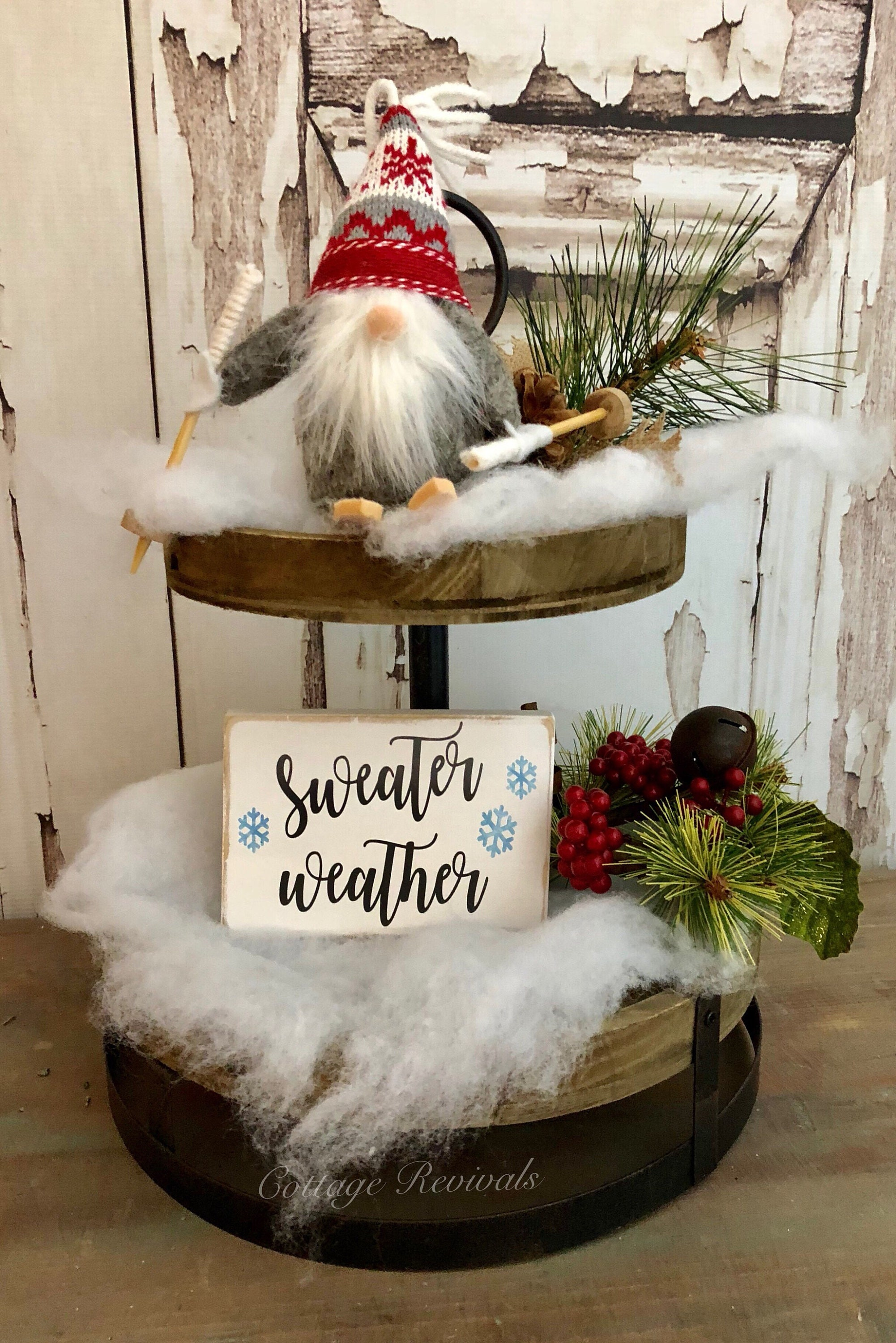 Tiered Tray Sign Mini Christmas Sign Set with Gnome Small Sign