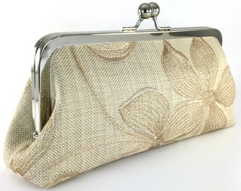 Monogrammed Linen Clutch Ivory Wedding Clutch Natural Blush Grey Bridesmaid Clutch