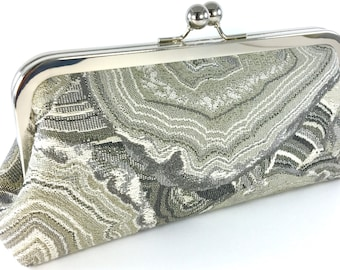 Gray Geode Purse Clutch , Unique Women's Handmade Party Evening Bag , Bagboy