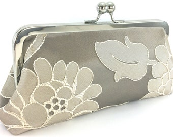 Bridal Wedding Clutch , Taupe Champaign Silk Floral Purse , Mother Of The Bride & Groom Handbag