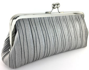 Silver Gray Clutch Purse , Crinkle Suede Evening Bag , Mother of the Bride Groom Wedding Gift
