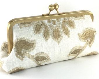 Beige Bridal Clutch , Wedding Day Purse , Linen Embroidered Floral Handbag , Brides Formal  Handbag