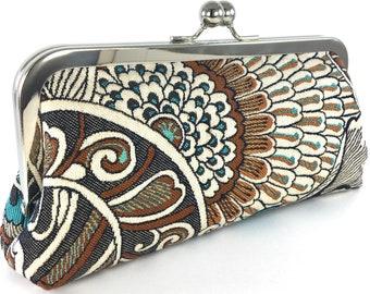 Flower Evening Bag Clutch , Boho Women's Handmade Purse
