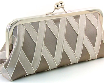 Clutch Evening Bag , Taupe Champagne Purse , Silk Wedding Mother Of The Bride Groom Gift , Maid of Honor Handbag