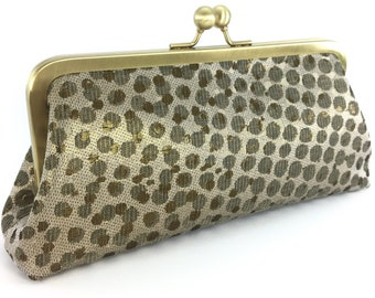 Evening Bag Clutch , Gold Champagne Metallic Clutch , Wedding Day Mother of the Bride Groom Handbag , Maid of Honor Gift