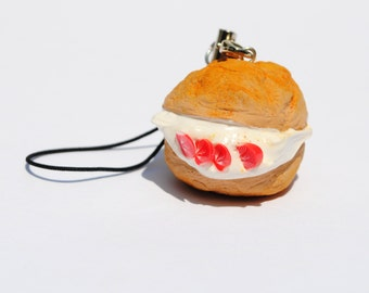 Cream Puff w/Strawberries Polymer Clay Charm