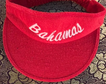 553d8f4059a Vintage Sun Visor. Red Terry Cloth Bahamas Sun Visor. Red Sun Visor.  Bahamas Sun Visor. 80 s Sun Visor