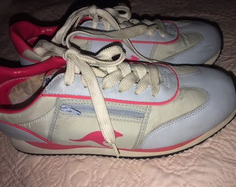 051abab74161cc Vintage Kangaroo Tennis Shoes. Blue and Pink Kangaroo Athletic Shoes.  Tennis Shoes. Kangaroo. Size 10