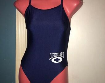 b9d78731e53 Vintage 1990 s Blue Lifeguard Swimsuit. Vintage Blue Lifeguard Speedo  Swimsuit. Blue Bathing Suit. 90 s Speedo Bathing Suit.