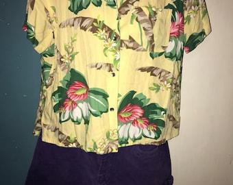 e1be86da Liz Claiborne Hawaiian Shirt. Vintage Hawaiian Shirt. Women's Yellow Hawaiian  Shirt. Liz Claiborne Hawaiian Crop Shirt. Size Large
