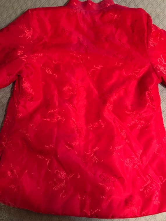 Vintage Red Asian Satin Jacket. Satin Jacket. Asi… - image 2