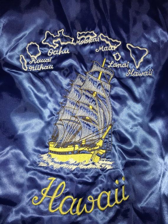 Vintage Blue Satin Hawaii Jacket. Blue Hawaii Souv