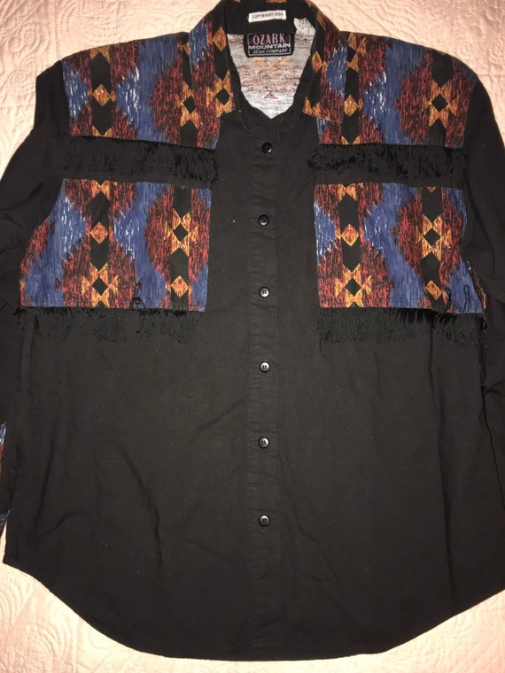 Vintage Women's Western Shirt. Black Western Butto