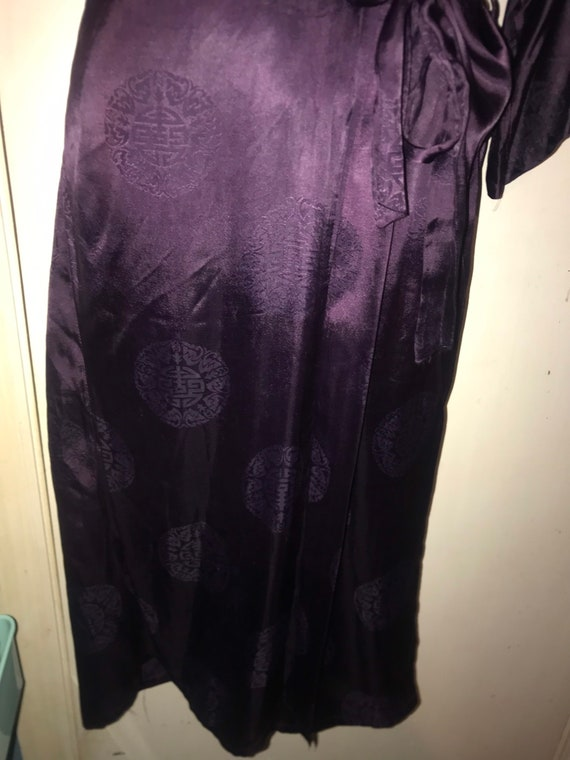 Vintage 1970's Silk Asian Robe. Vintage Deep Purp… - image 6