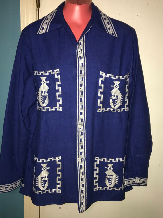 Vintage 1960s Mexican Embroidered Shirt. Mens Bohe