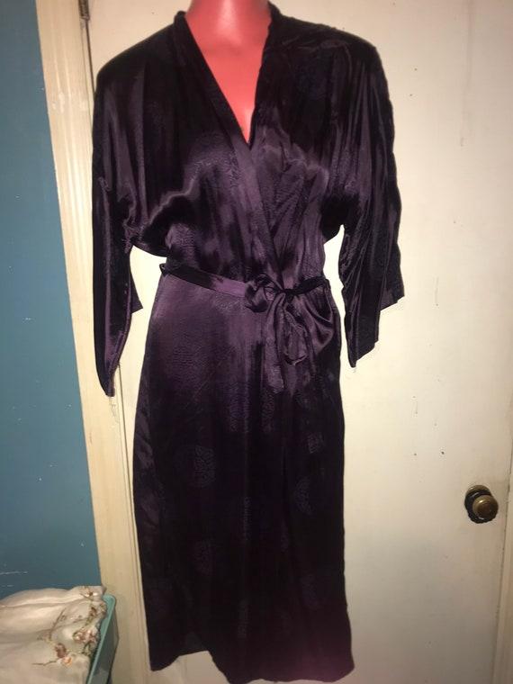 Vintage 1970's Silk Asian Robe. Vintage Deep Purp… - image 1