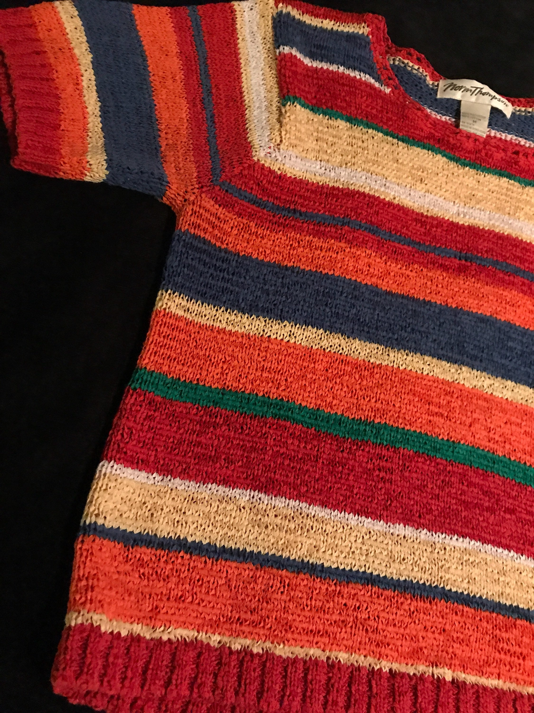 772e87e2984b1a Vintage Summer Sweater. Norm Thompson Summer Sweater. Colorful Striped  Sweater. Summer Sweater. Spring Sweater. 80 s Summer Sweater.