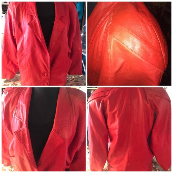 Vintage 1980's Red Leather Jacket. Red Leather Jac
