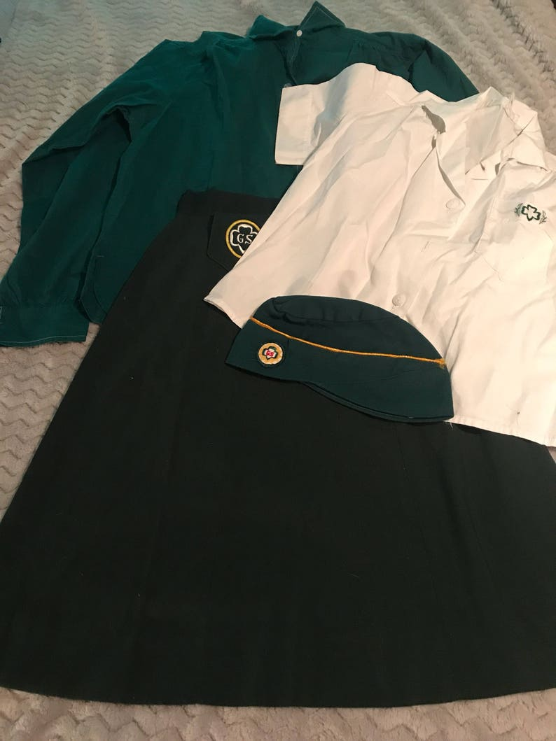 Girl Scout Hat Vintage Girl Scout Outfit 60/'s Girl Scout Clothes Girl Scout Skirt.