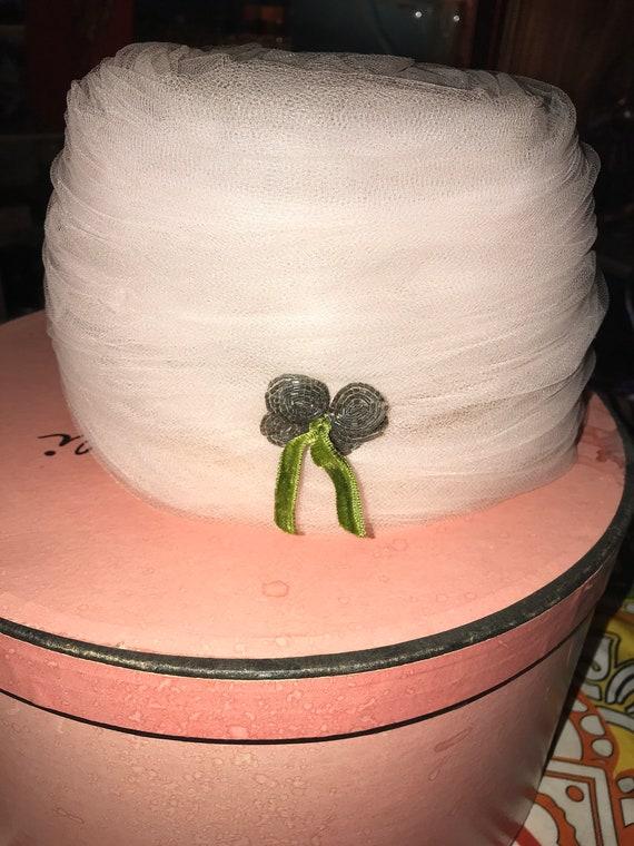 Vintage Elsa Schiaparelli Hat and Hat Box. Light … - image 2