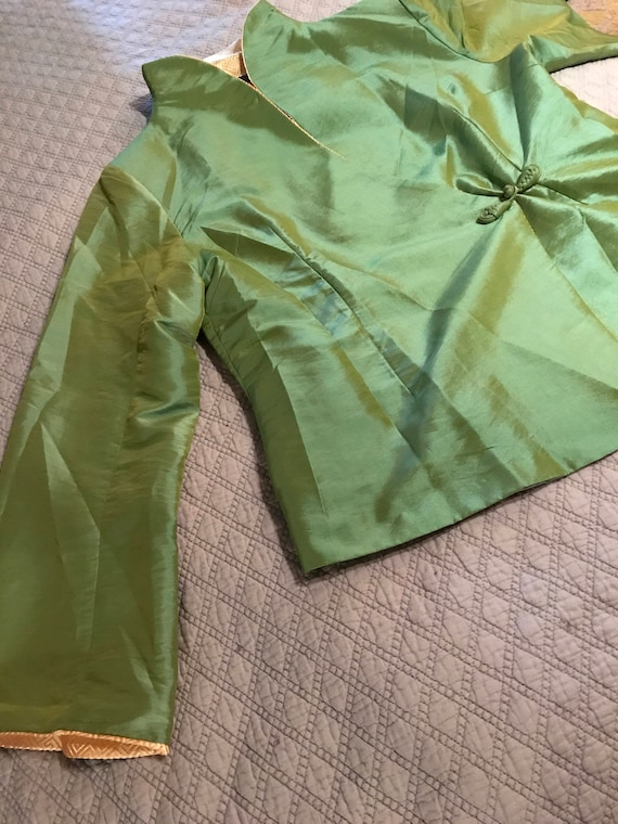 Vintage Green Asian Satin Jacket. Satin Jacket. A… - image 1