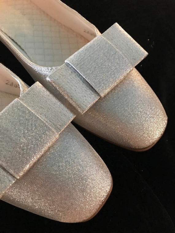 Vintage Silver Daniel Green Slippers. Metallic Si… - image 4