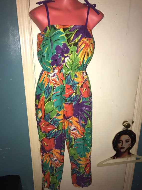 Vintage Hawaiian Print Jumpsuit. Women's Hawaiian