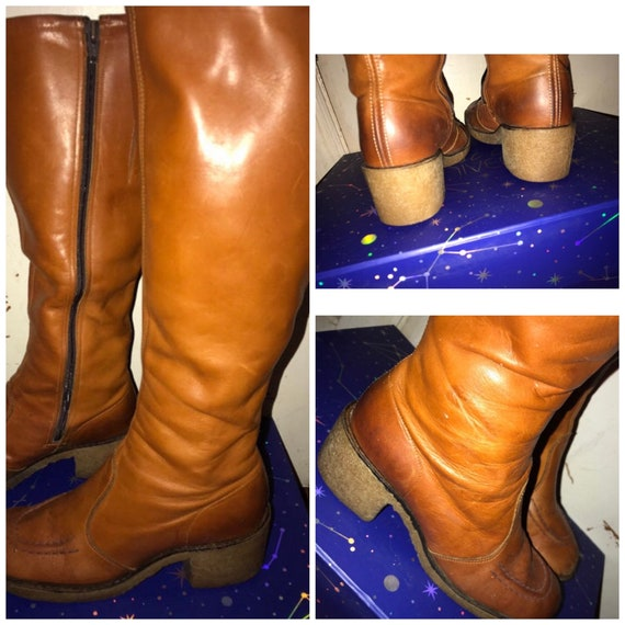 Vintage Brown Leather Boots. 1960's Tall Brown Lea