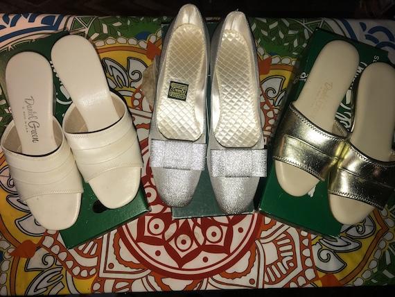 Vintage Silver Daniel Green Slippers. Metallic Si… - image 1