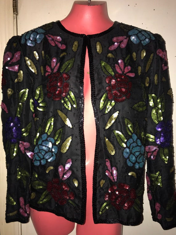 Vintage Scala Beaded Sequin Jacket. Beaded Sequin