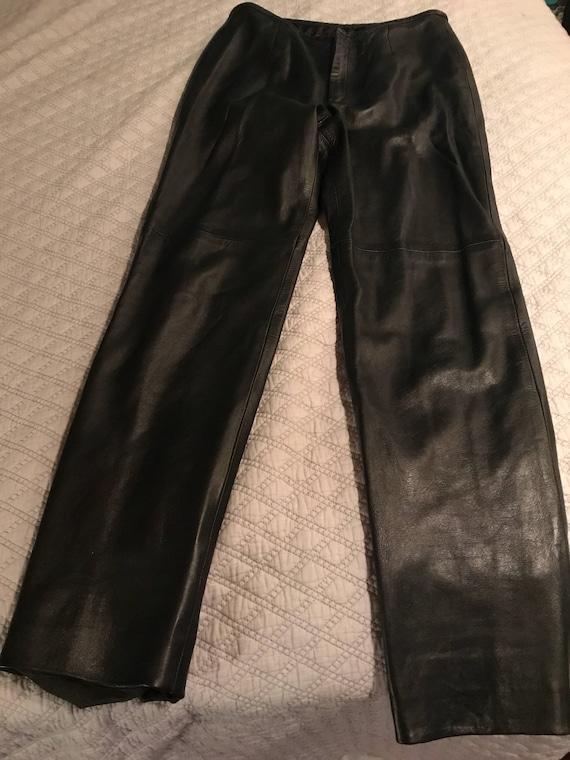 Vintage Black Leather Pants. Womens Black Leather