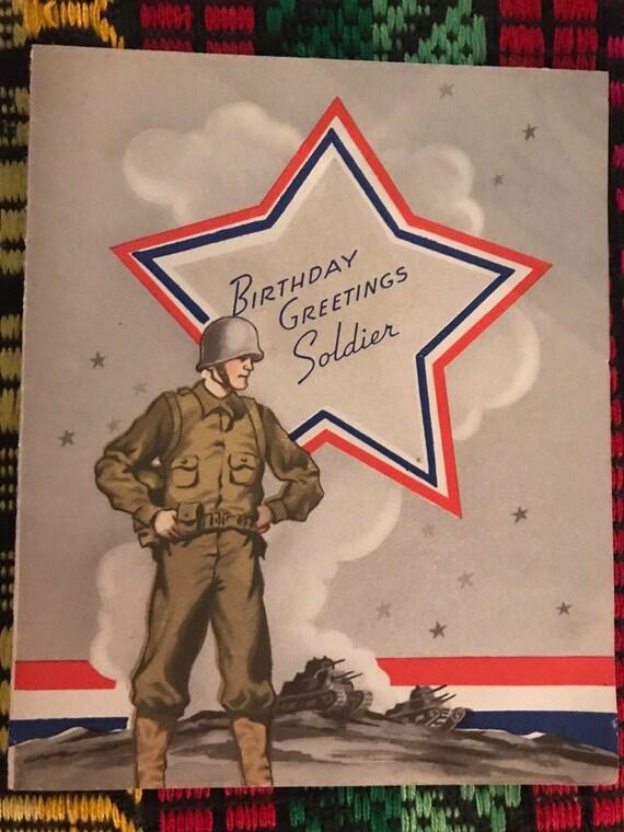 Vintage Usa Soldier Birthday Card Vintage New Soldier Etsy